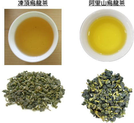 凍頂烏龍、阿里山烏龍の茶葉と水色