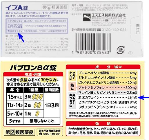 鎮痛剤(イブA錠)、感冒薬(パブロン)の無水カフェイン表示