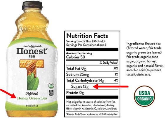 アメリカで売られている砂糖入りのペットボトル緑茶