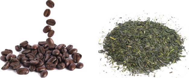 コーヒー豆と緑茶の茶葉