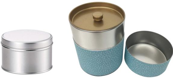 ブリキ缶、中蓋付きの缶