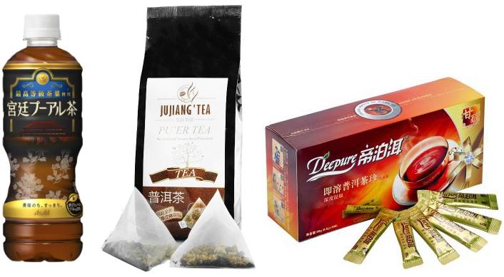 ペットボトル、ティーバッグ、インスタント粉末のプーアル茶