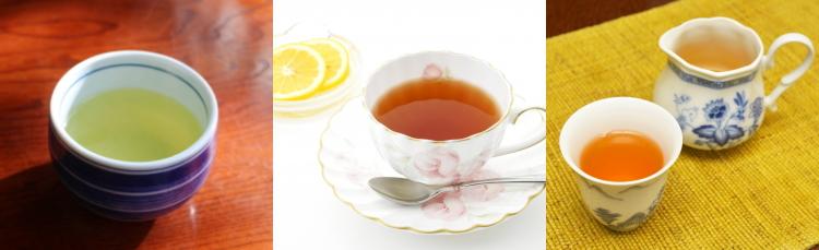 緑茶、紅茶、ウーロン茶