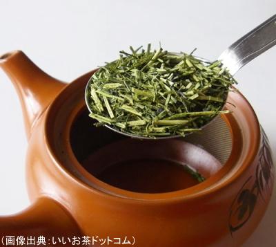 茎茶1人分を急須に入れる