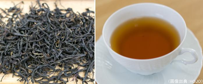 オリジナルの正山小種の茶葉と水色