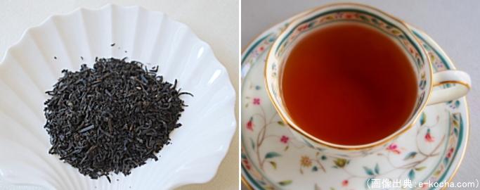 ラプサンスーチョンの茶葉と水色