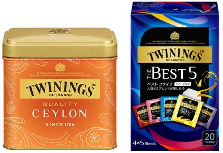トワイニング紅茶のリーフティー、ティーバッグのパッケージ