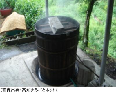 碁石茶の茶葉を蒸す
