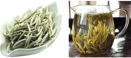 白豪銀針の茶葉、水色