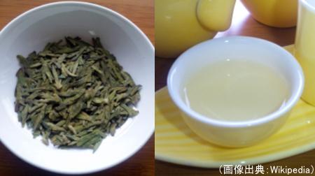 中国緑茶(西湖龍井茶)の茶葉、水色