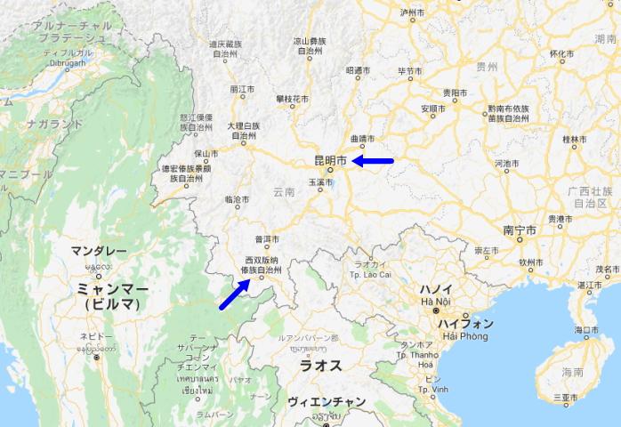 西双版納・景洪、雲南省省都・昆明の場所