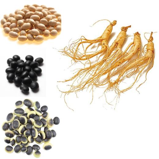 青大豆、黒大豆、くらかけ大豆、高麗人参