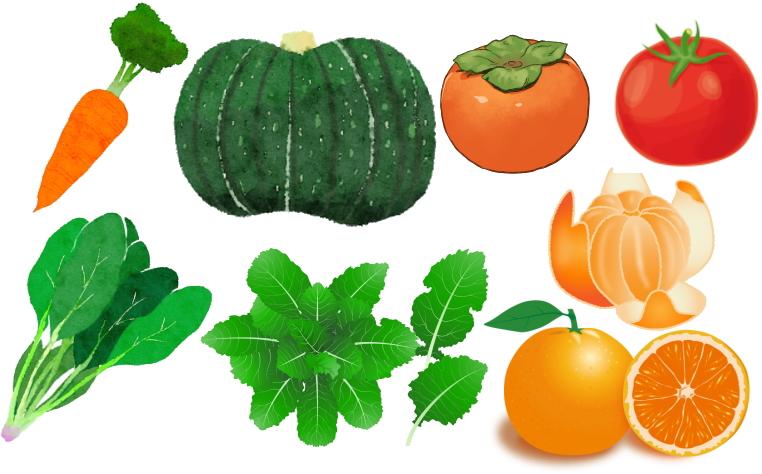 にんじん、かぼちゃ、トマト、柿、ホウレンソウ、ケール、オレンジ、みかん