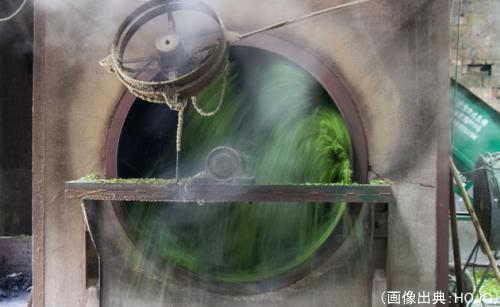 中国黒茶の蒸気での殺青