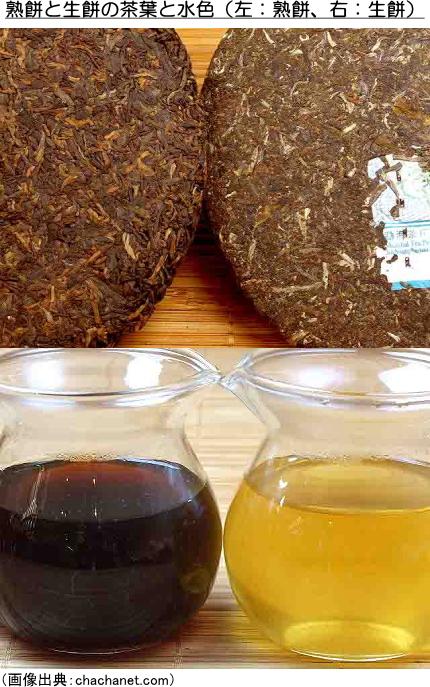 熟餅と生餅の茶葉と水色